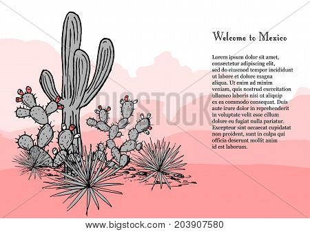 Cacti group with place for text. Prickly pear cactus, blue agaves, and saguaro. Mexico hand drawn banner. Vector illustration. Stylish palette. Mountains background.