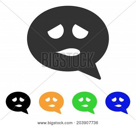 Sadly Smiley Message icon. Vector illustration style is a flat iconic sadly smiley message symbol with black, gray, green, blue, yellow color versions. Designed for web and software interfaces.