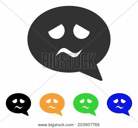 Sadness Smiley Message icon. Vector illustration style is a flat iconic sadness smiley message symbol with black, grey, green, blue, yellow color versions. Designed for web and software interfaces.