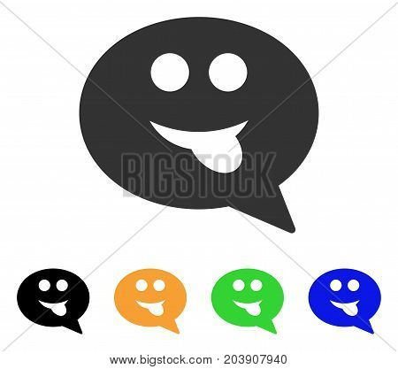 Tongue Smiley Message icon. Vector illustration style is a flat iconic tongue smiley message symbol with black, grey, green, blue, yellow color variants. Designed for web and software interfaces.