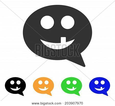Tooth Smiley Message icon. Vector illustration style is a flat iconic tooth smiley message symbol with black, grey, green, blue, yellow color variants. Designed for web and software interfaces.