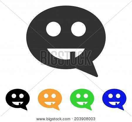 Toothless Smiley Message icon. Vector illustration style is a flat iconic toothless smiley message symbol with black, gray, green, blue, yellow color versions.