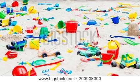 Playground For Children With Plastic Sand Toys.
