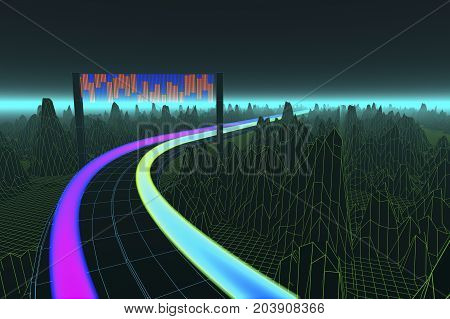 data streams in a digital world (3d rendering)