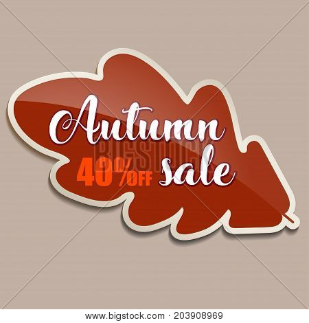 Autumn sale banner with red oak leaf - 40 percent off. Vector illustration with autumn red oak leaf. Red sticker for autumn sale with leaf. Fall discount.