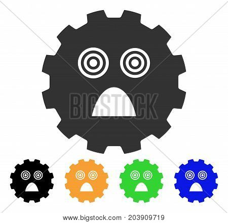 Afraid Smiley Gear icon. Vector illustration style is a flat iconic afraid smiley gear symbol with black, gray, green, blue, yellow color versions. Designed for web and software interfaces.