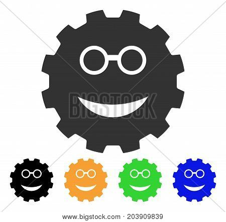 Clever Smiley Gear icon. Vector illustration style is a flat iconic clever smiley gear symbol with black, grey, green, blue, yellow color variants. Designed for web and software interfaces.