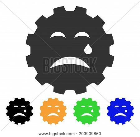 Cry Smiley Gear icon. Vector illustration style is a flat iconic cry smiley gear symbol with black, gray, green, blue, yellow color versions. Designed for web and software interfaces.