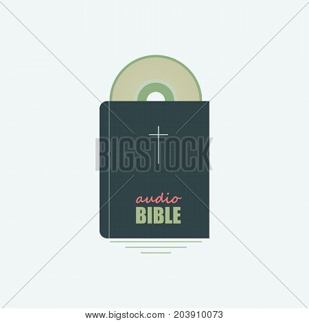 Vector image of the Bible and the SD disk symbolizing the logo audio Bible.