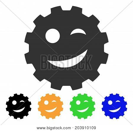 Joke Smiley Gear icon. Vector illustration style is a flat iconic joke smiley gear symbol with black, grey, green, blue, yellow color versions. Designed for web and software interfaces.