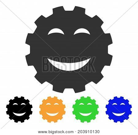 Joy Smiley Gear icon. Vector illustration style is a flat iconic joy smiley gear symbol with black, gray, green, blue, yellow color versions. Designed for web and software interfaces.
