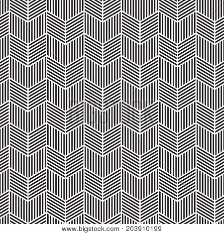 Seamless chevron pattern texture, etched with parallel line shading. Vector Illustration.
