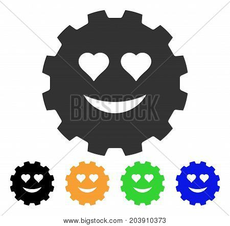 Love Smiley Gear icon. Vector illustration style is a flat iconic love smiley gear symbol with black, grey, green, blue, yellow color variants. Designed for web and software interfaces.