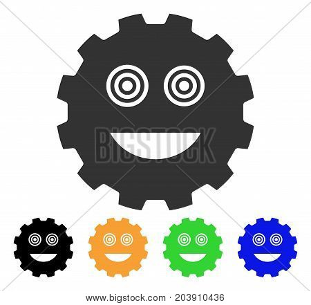 Mad Smiley Gear icon. Vector illustration style is a flat iconic mad smiley gear symbol with black, grey, green, blue, yellow color versions. Designed for web and software interfaces.