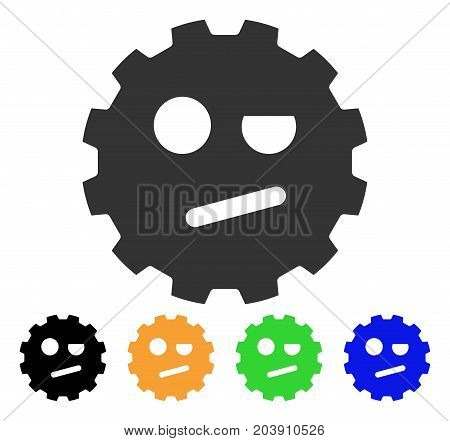 Negation Smiley Gear icon. Vector illustration style is a flat iconic negation smiley gear symbol with black, grey, green, blue, yellow color versions. Designed for web and software interfaces.