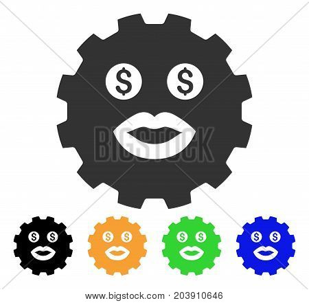 Prostitute Smiley Gear icon. Vector illustration style is a flat iconic prostitute smiley gear symbol with black, grey, green, blue, yellow color versions. Designed for web and software interfaces.