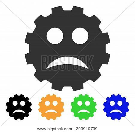 Sad Smiley Gear icon. Vector illustration style is a flat iconic sad smiley gear symbol with black, gray, green, blue, yellow color variants. Designed for web and software interfaces.