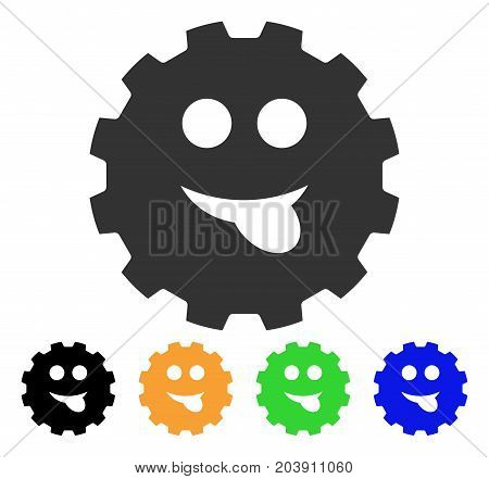 Tongue Smiley Gear icon. Vector illustration style is a flat iconic tongue smiley gear symbol with black, grey, green, blue, yellow color versions. Designed for web and software interfaces.