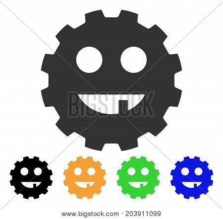 Toothless Smiley Gear icon. Vector illustration style is a flat iconic toothless smiley gear symbol with black, grey, green, blue, yellow color variants. Designed for web and software interfaces.
