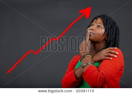 illustration of young African woman thinking about personal growth