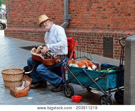 Boston, Massachusetts - August 16, 2017: Street musician in Boston, Massachusetts