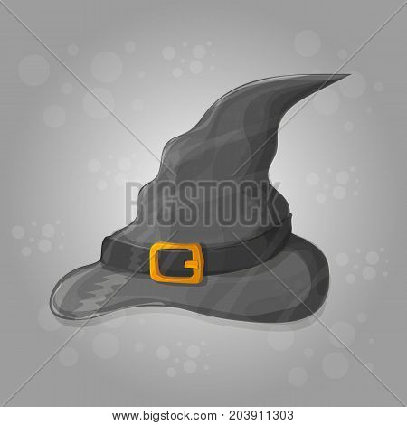illustration of tall witch hat on abstract background - halloween vector card