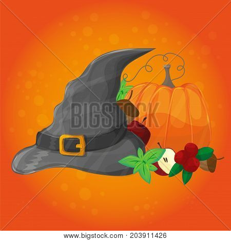 Halloween poster, banner or background. Vector illustration with pumpkin, hat and other elements