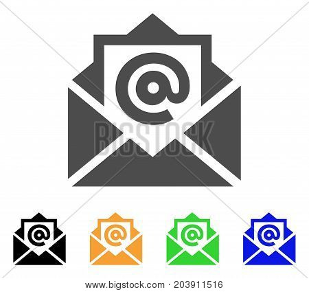 Email icon. Vector illustration style is a flat iconic email symbol with black, grey, green, blue, yellow color versions. Designed for web and software interfaces.