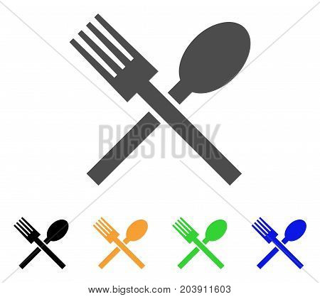 Fork And Spoon icon. Vector illustration style is a flat iconic fork and spoon symbol with black, grey, green, blue, yellow color variants. Designed for web and software interfaces.