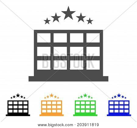 Hotel icon. Vector illustration style is a flat iconic hotel symbol with black, gray, green, blue, yellow color versions. Designed for web and software interfaces.