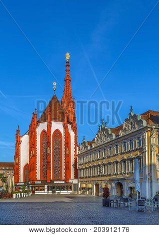View of Square Oberer markt with Marienkapelle and house of falcon Wurzburg Germany