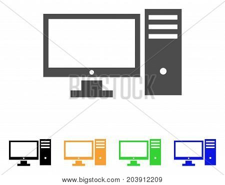 Personal Computer icon. Vector illustration style is a flat iconic personal computer symbol with black, gray, green, blue, yellow color variants. Designed for web and software interfaces.