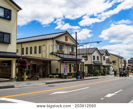 KYOTO, JAPAN - JULY 05, 2017: Beautiful and stylized japanesse house in Kyoto, Japan