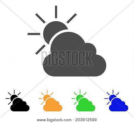 Sun And Clouds Weather icon. Vector illustration style is a flat iconic sun and clouds weather symbol with black, gray, green, blue, yellow color versions. Designed for web and software interfaces.