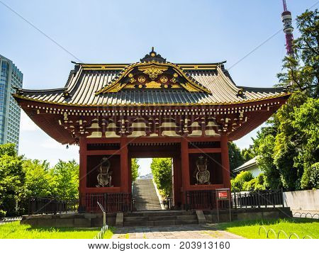KYOTO, JAPAN - JULY 05, 2017: Beautiful and stylized japanesse temple in Kyoto, Japan