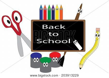Anthropomorphic art supplies illustrated on blackboard with text graphics Back to School.