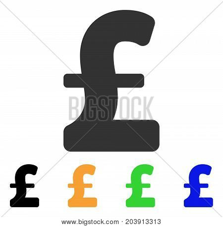 Pound Sterling icon. Vector illustration style is a flat iconic pound sterling symbol with black, gray, green, blue, yellow color variants. Designed for web and software interfaces.