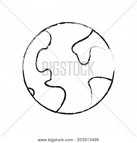 figure global earth planet and geograpy continents vector illustration