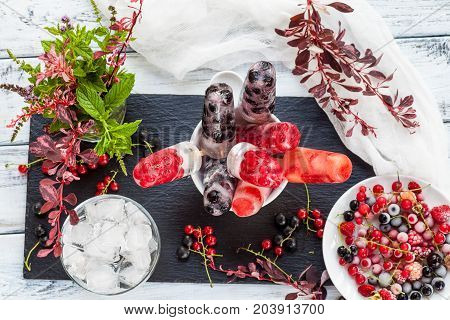 Homemade delicious ice cream dessert, made from fresh summer berries (black and red currant, wild strawberry, raspberry). Iced berries. Healthy lifestyle vegan food. Clean tasty icecream. Zero calories