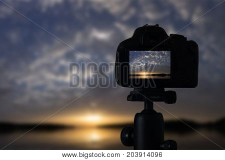 Sunset Photography. Camera With Tripod Sunset. Sunset.