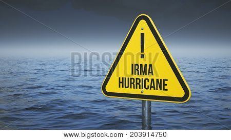 Sign Irma hurricane immersed in water. Concept 3d