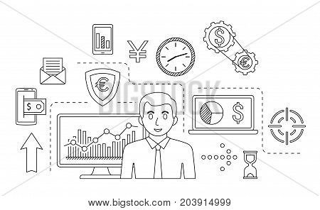 Stock market trade concept. Financial forex trading theme. Moneymaking investing business. Vector illustration.