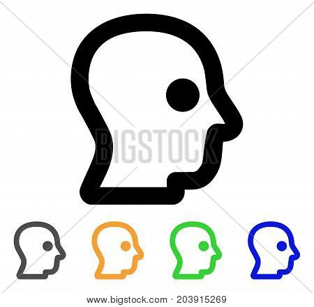Head Profile icon. Vector illustration style is a flat stroke iconic head profile symbol with black, grey, green, blue, yellow color variants. Designed for web and software interfaces.