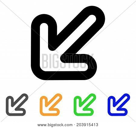 Left-Down Arrow icon. Vector illustration style is a flat contour iconic left-down arrow symbol with black, grey, green, blue, yellow color versions. Designed for web and software interfaces.