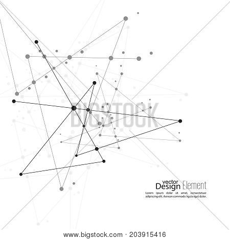 Virtual abstract background with particle, molecule structure. genetic and chemical compounds. vector. Space, constellations. Science and connection concept. Social network. Black, white, sepia