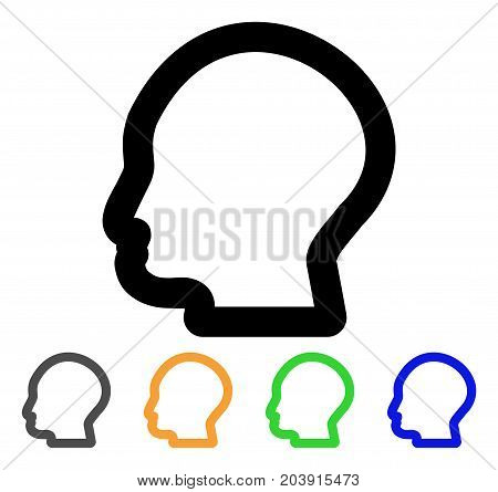 Man Profile icon. Vector illustration style is a flat contour iconic man profile symbol with black, gray, green, blue, yellow color versions. Designed for web and software interfaces.
