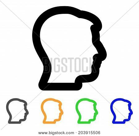 Man Profile icon. Vector illustration style is a flat line iconic man profile symbol with black, gray, green, blue, yellow color variants. Designed for web and software interfaces.