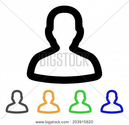 Person icon. Vector illustration style is a flat linear iconic person symbol with black, grey, green, blue, yellow color variants. Designed for web and software interfaces.