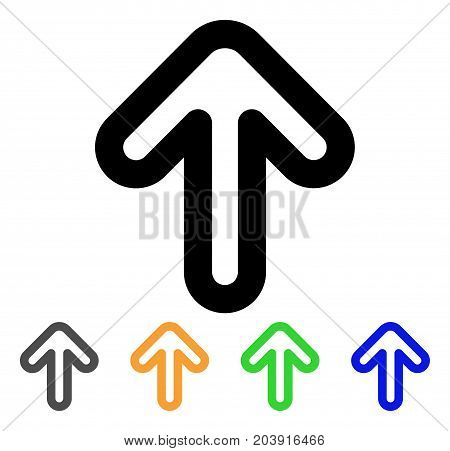 Up Arrow icon. Vector illustration style is a flat contour iconic up arrow symbol with black, gray, green, blue, yellow color variants. Designed for web and software interfaces.