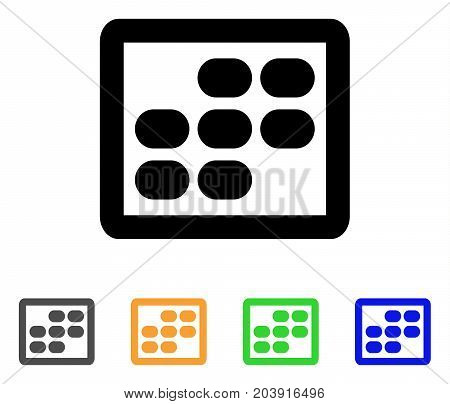 Week Calendar icon. Vector illustration style is a flat stroke iconic week calendar symbol with black, gray, green, blue, yellow color versions. Designed for web and software interfaces.